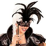 Amakando Venezianische Lorgnette mit Federn / Schwarz / Zauberhafte Ball-Maske mit Stab / Perfekt geeignet zu Fasching & Mottoparty