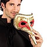 NET TOYS Elegante Schnabelmaske Venezianische Maske Gold-rot Pestmaske Maskenball Rabenmaske Männer