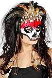 Jannes 34508 Voodoo-Maske mit Knochen und Feder Weiß rot Federschmuck Voodoopuppe Legba Haiti Halloweenmaske Grusel Horror Scary HochwertigEinheitsgröße Weiß/Rot