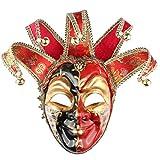 Hophen Volto Musik venezianische Jester Maske Maskenade Halloween Party Bell Joker Wand Deko Art Collection Maske 28.15 * 18.5in schwarz/rot