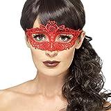 NET TOYS Elegante Spitzenmaske Venezianische Maske rot Augenmaske Maskenball Ballmaske aus Spitze Maske Karneval in Venedig Venedigmaske