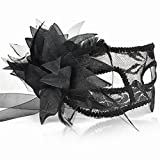 BLACK LACE & BLUME VENEZIANISCHE MASKERADE KARNEVAL PARTY EYE MASKE