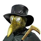 PartyHop Pest Doctor Mask, Golden Bird Beak Steampunk Gas Costume, für Kinder und Erwachsene
