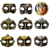 Yeerum 8 Stück Maskerade Venezianische Maske Halloween Prom Masked Ball Kostüm Karneval Mardi Party Masken Vintage Antik Masken Hochzeit Paar Damen Herren Maske Burlesque Ball Party Maske