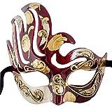 LannaKind Handgefertigte Venezianische Maske Augenmaske Colombina Maskerade Ballmaske Damen und Herren (C03 rot)