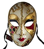 Lannakind Venezianische Maske Gesichtsmaske Volto Damen Karneval, Ballmaske, Wand-Deko (V01 rot-schwarz)