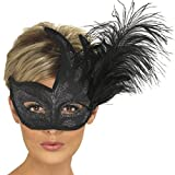 NET TOYS Venezianische Maske mit Feder Augenmaske Schwarz Ballmaske Venedigmaske Federmaske Maskenball Karneval