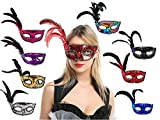 8er-Pack Kolombinierte Federmaske, venezianische Augenmaske mit Glitzer und weichen Federn, Party-Kostüm