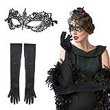 LAMEK 2 TLG Venezianische Maske Damen Sexy Spitzenmaske Spitze Augenmaske Gothic Gesichtsmaske Halloween Retro Party Kostüm Set mit Spitzenhandschuhe für Maskenball Karneval Maskerade Hochzeit Cosplay