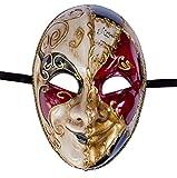 Lannakind Venezianische Maske Gesichtsmaske Joker Herren Karneval Fasching (J01 schwarz)