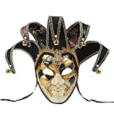 BLEVET Venetian Maskerade Maske Partei Karneval Ball Kostüm Mardi Gras Maske MZ021 (Black)