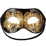 dressforfun 900882 Venezianische Maske für Damen und Herren, Augenmaske mit Verzierung für Maskenball Fasching Karneval Halloween Maskerade Party - Diverse Farben - (schwarz-Gold   Nr. 303530)