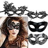FLOFIA 4 Stück Venezianische Maske Damen Spitze Maske Lace Maske Schwarz Augenmaske für Fasching Maskerade Masquerade Halloween Karneval Cosplay Party Gothic Gesichtsmaske