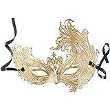 dressforfun 900880 Venezianische Metall Maske mit Strass, Filigrane Damen Augenmaske, sexy Lace Maskerade für Maskenball Karneval Fasching Party Halloween - Diverse Farben - (Gold   Nr. 303524)