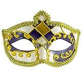Venezianischer Harlekin | Lila und Gold | Unisex Maskerade Maske | Ideal für Kostümbälle | Herren Damen Maskenball