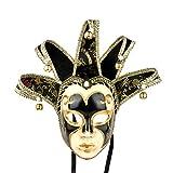 YUFENG Vintage Jolly Joker venezianischen Masquerade Maske Kostüm Halloween Cosplay Maske für Party, Ball Ball, Mardi Gras, Hochzeit, Wandschmuck schwarz