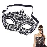 EQLEF Sexy Schwarz Metall Venezianische Maske mit weißen Strass Masquerade Halloween Cosplay Partei (Typ 1)
