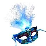 Hermione Hosmer Frauen Venezianischen Venedig Feder LED Maske Leuchtenden Maskerade Maske Bachelorette Party Phantasie Kleid Prinzessin Ball Masken Karneval Maske (Blau)