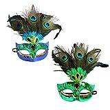 BESPORTBLE 2Pcs Frauen Pfau Federmasken Lustige Maskerade Masken Magische Pailletten Venezianische Halbmaske für Halloween Kostüm Party Cosplay Weihnachten