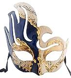 LannaKind Handgefertigte Venezianische Maske Augenmaske Gesicht Colombina Maskenball Damen und Herren blau(C01e)