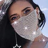 IYOU Boho Kristall Gesichtskette Gittergewebe Maskerade Maske Strass Partys Ball Kostüme Bauchtanz Bühne Venezianische Karneval Kleid Masken Schmuck für Frauen und Mädchen