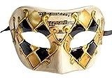 Flywife Herren Maskerade Maske Musikalische Karierte Venezianischen Halloween Karneval Party Maske (Gold)