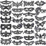 SIQUK 30 Stück Venezianische Maske Damen Schwarz Spitze Augenmaske für Party Abend Ball Abschlussball Ballette