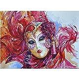 AItmp DIY 5D Diamantmalerei Aquarell venezianische Maske Muster Kreuzstich Stickmosaik Full 40X50Cm