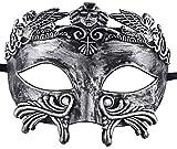 KEFAN Antiken griechischen römischen Maskerade Maske Männer venezianische Maske Mardi Gras Maske Hochzeit Ball Maske (Silber schwarz)