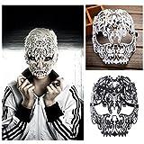 FunPa Venezianische Maske, Metall Damen Masquerade Maske Schädel Gesichtsmaske für Maskenball Kostüm Karneval Halloween Weihnachten Party